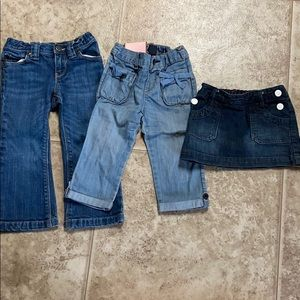Gap jeans and skirt.  Size 3